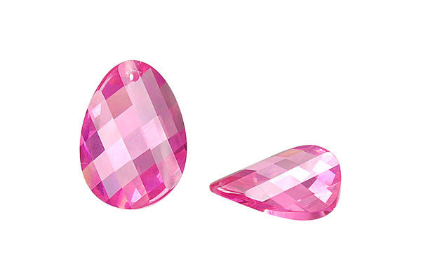 Pendant Cubic Zirconia Faceted Twisted Flat Oval (Pink)