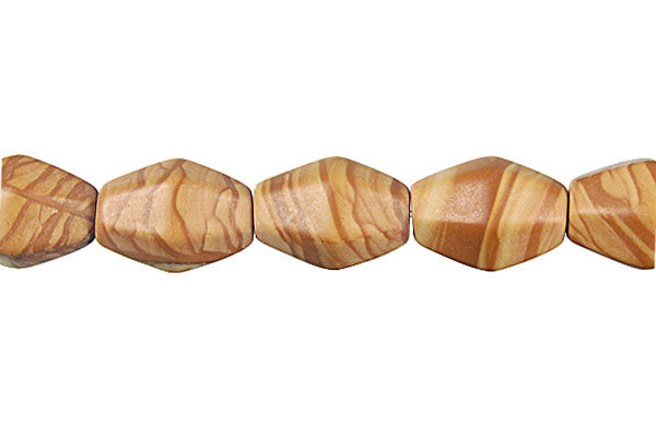 Wood Jasper Hexagon Rice Beads