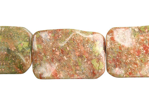 Unakite Wavy Rectangle Beads