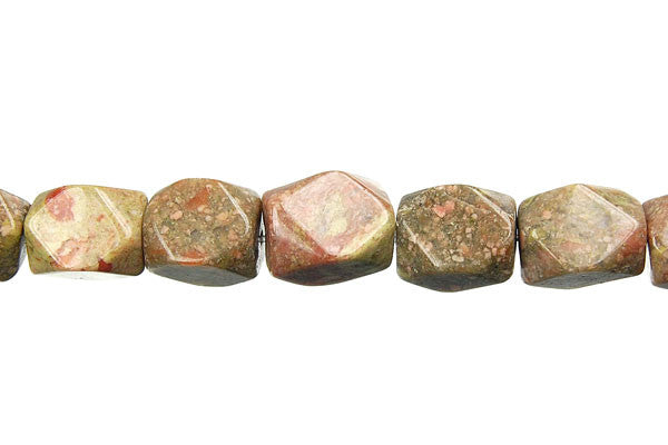 Unakite Faceted Nugget Beads