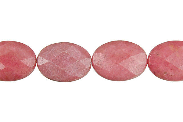Rhodonite Faceted Flat Oval Beads