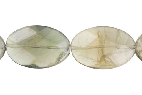 Fluorite (A) Faceted Flat Oval Beads