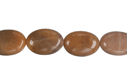 Chocolate Aventurine Flat Oval Beads