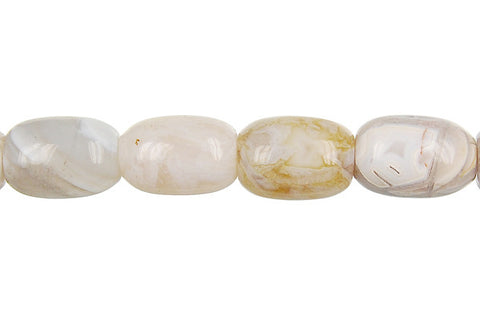Bamboo Leaf Agate Drum Beads