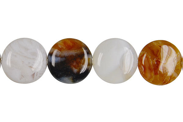Bamboo Leaf Agate Coin Beads