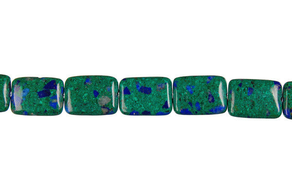 Azurite-Malachite Flat Rectangle Beads