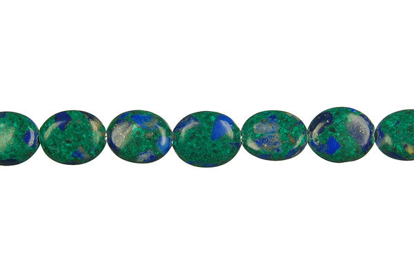 Azurite-Malachite Flat Oval Beads