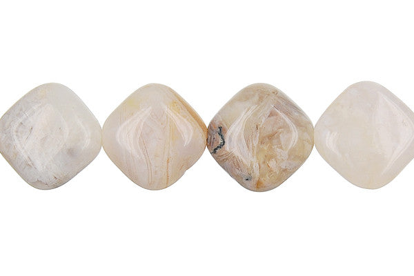 Bamboo Leaf Agate Diamond Square Beads