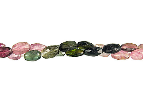 Tourmaline Faceted Flat Oval Beads