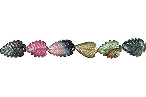 Tourmaline Carved Leaf Beads