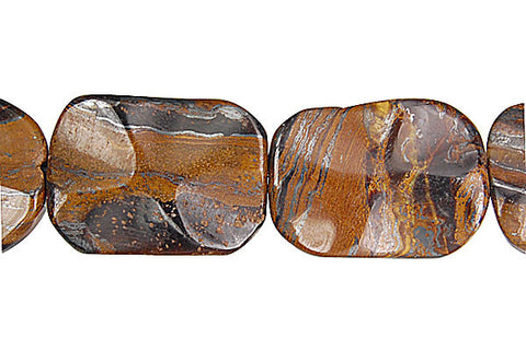 Tiger Iron (AAA) Wavy Rectangle Beads