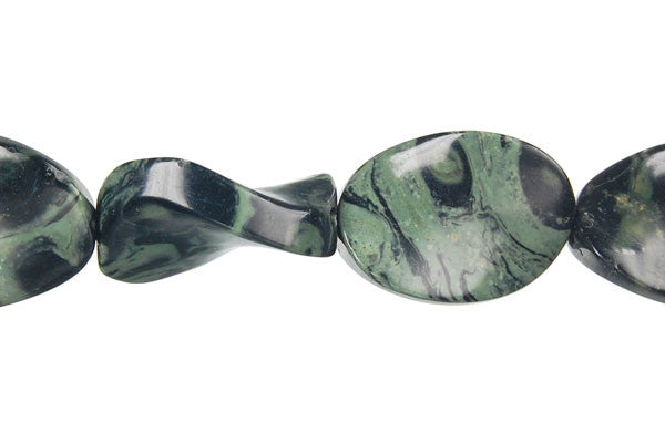 Kambaba Jasper Twisted Flat Oval Beads