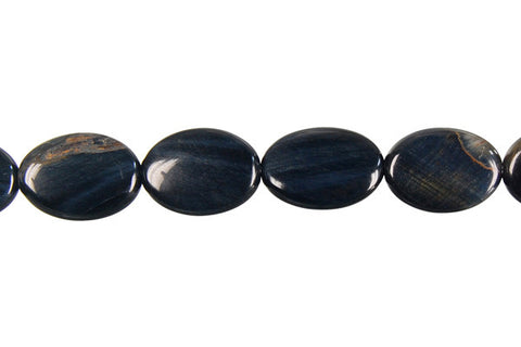 Blue Tiger Eye Flat Oval Beads