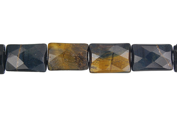 Blue Tiger Eye Faceted Rectangle Beads