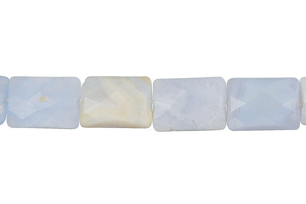 Blue Chalcedony Faceted Rectangle Beads