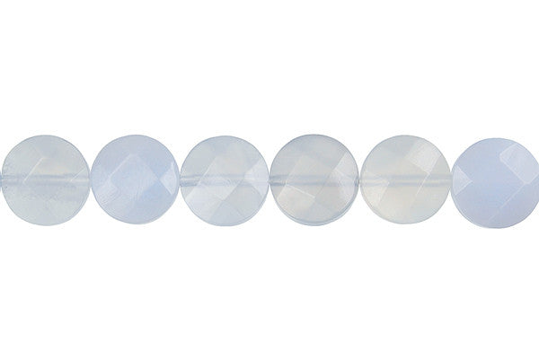 Blue Chalcedony Faceted Coin Beads
