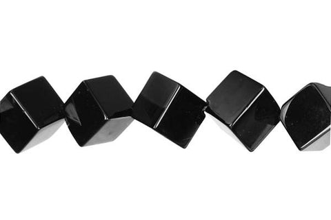 Black Onyx (AAA) Cube (Corner Drilled) Beads