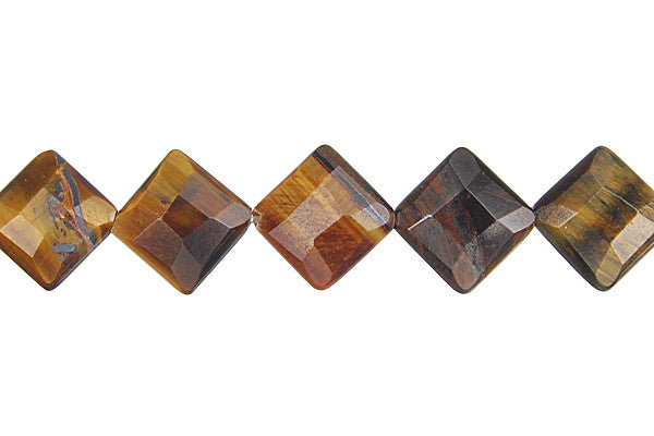 Tiger Eye Faceted Diamond Square Beads