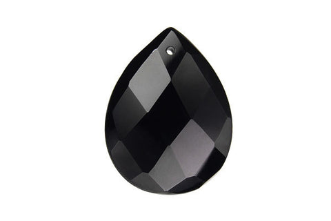 Pendant Black Onyx (AAA) Faceted Flat Briolette