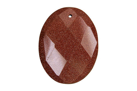 Pendant Gold Stone Faceted Flat Oval