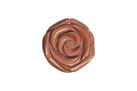 Pendant Gold Stone Carved Rose