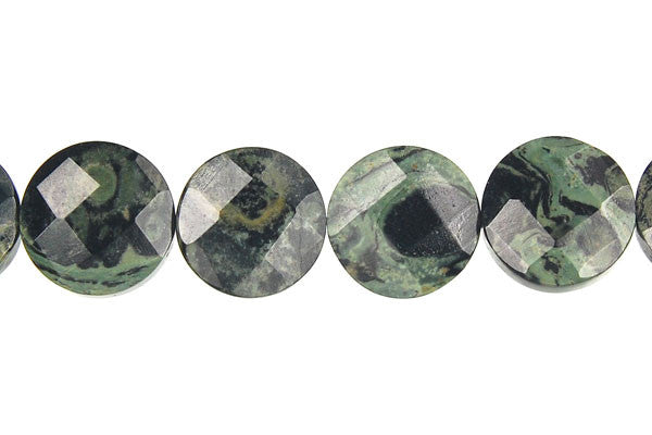 Kambaba Jasper Faceted Coin Beads