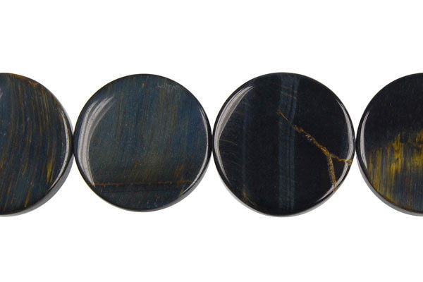 Blue Tiger Eye Coin Beads