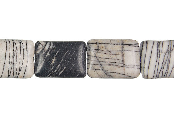 Black Webbed Jasper Flat Rectangle Beads