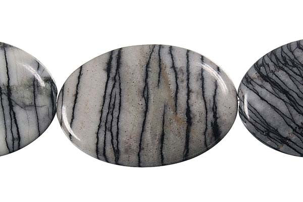 Black Webbed Jasper Flat Oval Beads