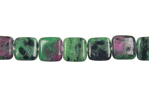 Ruby Zoisite Flat Square Beads
