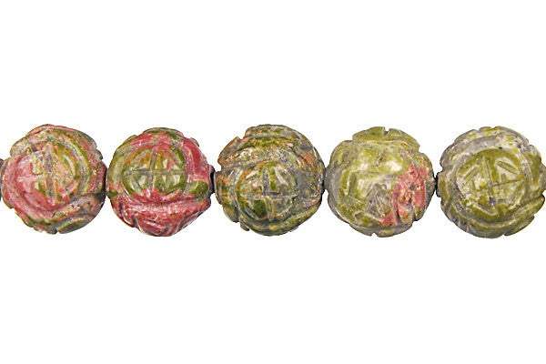 Unakite (Brazil) Carved Lotus Flower (Round) Beads