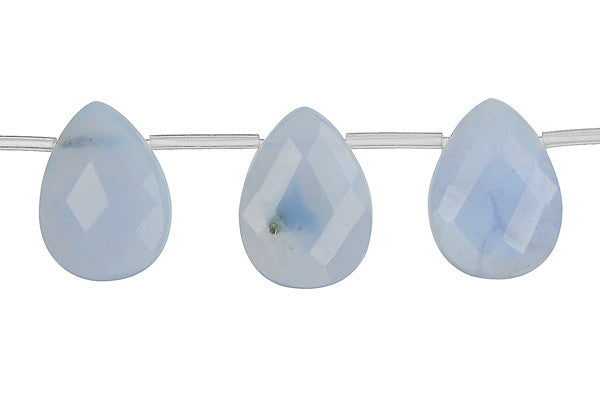 Blue Chalcedony Faceted Flat Briolette Beads