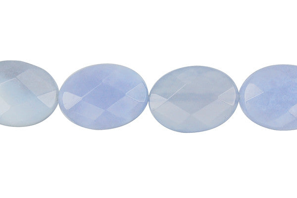 Blue Chalcedony Faceted Flat Oval Beads