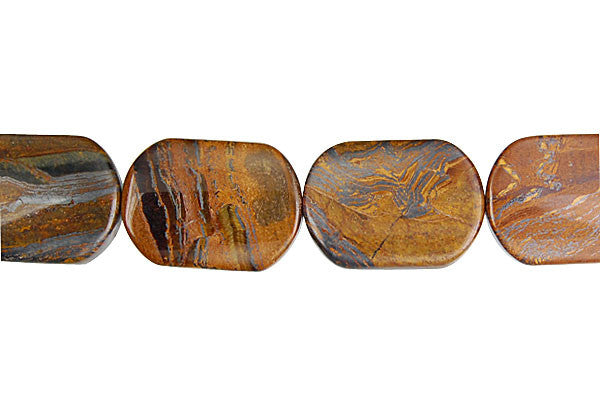 Tiger Iron (AAA) Rectangle Flat Oval Beads