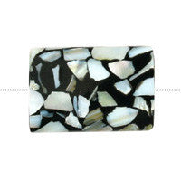 Shell (Black & White) Puffy Rectangle Beads