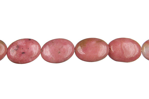 Rhodonite Flat Oval Beads