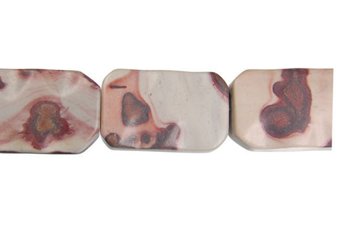 Leopard Skin Jasper Wavy Rectangle Beads
