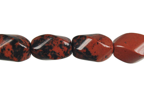 Mahogany Obsidian Square Twisted Rice Beads