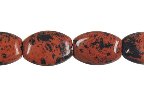 Mahogany Obsidian Rectangle Flat Oval Beads