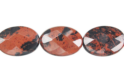 Mahogany Obsidian Faceted Flat Oval Beads