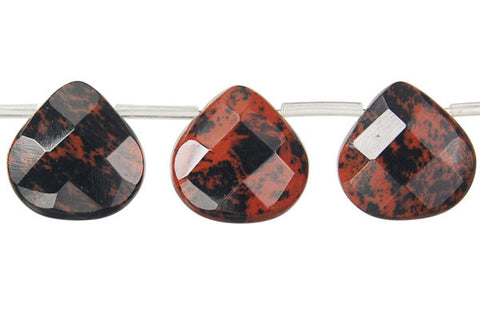 Mahogany Obsidian Faceted Flat Heart Briolette Beads