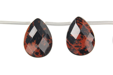 Mahogany Obsidian Faceted Flat Briolette Beads
