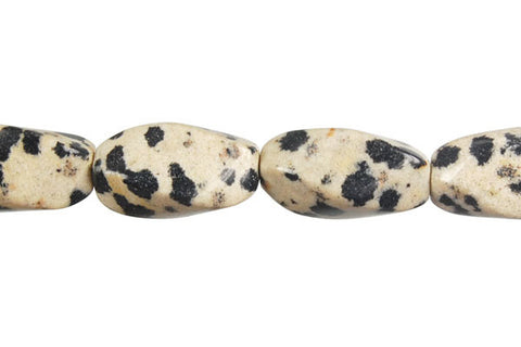 Dalmatian Jasper Square Twisted Rice Beads