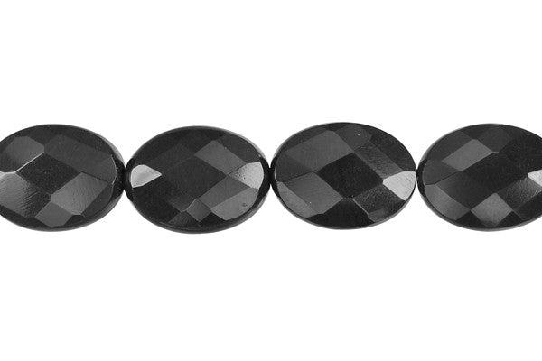 Black Swan Faceted Flat Oval Beads