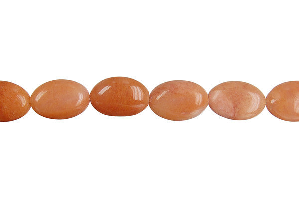 Peach Aventurine Flat Oval Beads