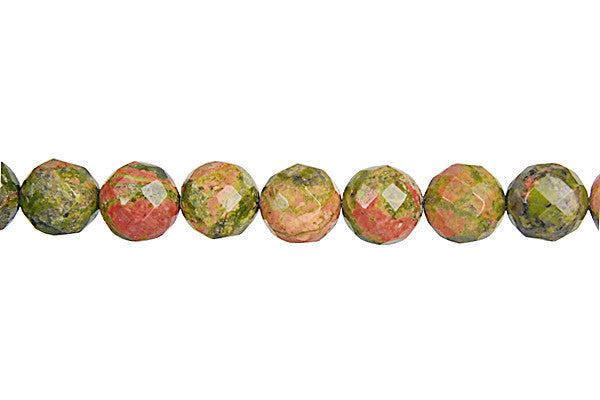 Unakite (Brazil) Faceted Round Beads