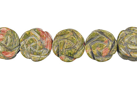 Unakite (Brazil) Carved Rose (Coin) Beads