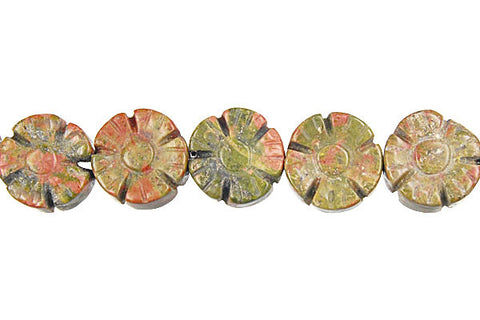 Unakite (Brazil) Carved Clubs (Coin) Beads