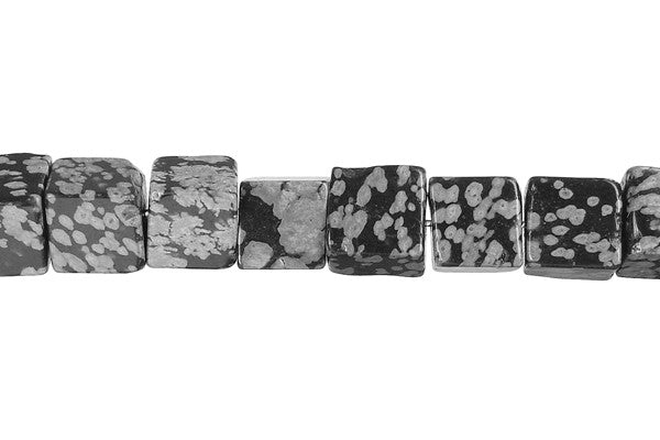 Snowflake Obsidian Cube Beads