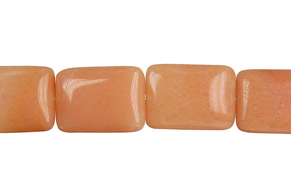 Peach Aventurine Flat Rectangle Beads